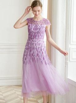 Chic Beaded Mesh Short Sleeve Maxi Dress
