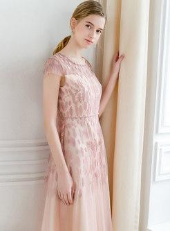 Fashion Beaded Mesh Splicing Maxi Dress