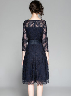 Crew Neck Embroidered Lace A Line Dress