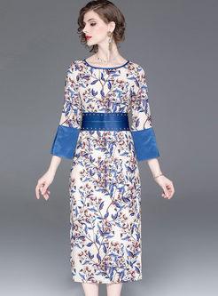 Color-blocked O-neck Slit Print Dress