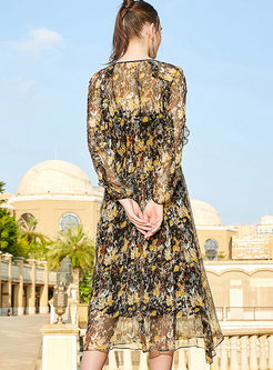 Long Sleeve Floral Silk Dress With Cami