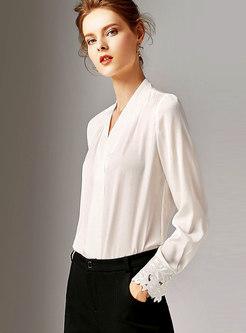 Elegant Solid Color V-neck Pullover Blouse