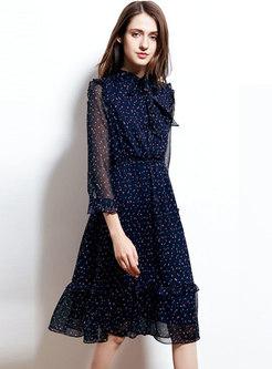 Chiffon Print Tie-collar Slim Falbala Dress