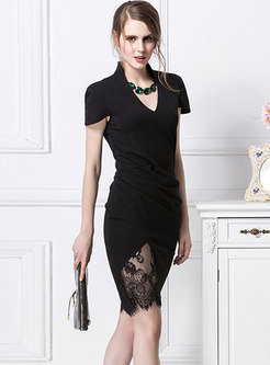 Sexy Hollow Out Lace V-neck Bodycon Dress