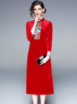 Embroidered Velvet Button Standing Collar Dress