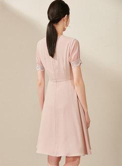 Brief V-neck High Waist A Line Dress