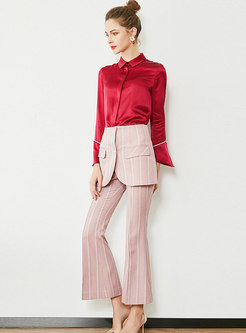 Chic Solid Color Silk Blouse & Striped Flare Pants