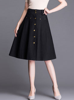 Stylish Solid Color Denim A Line Skirt