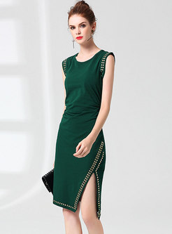 Chic O-neck Drilling Sleeveless Slit Bodycon Dress