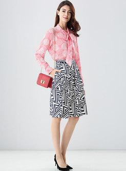 Chic Print High Waist A Line Skirt