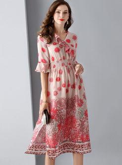 V-neck Falbala Half Sleeve Slit Dress