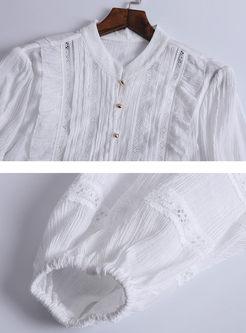 White Lantern Sleeve Falbala Shift Dress