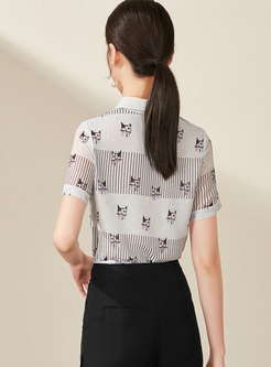 Cat Pattern Lapel Single-breasted Blouse