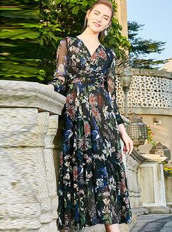 Floral V-neck High Waist A Line Dress
