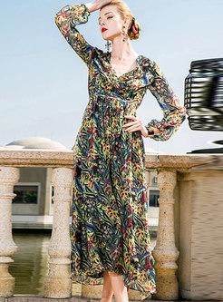 Elegant Floral V-neck Gathered Waist Slim Dress