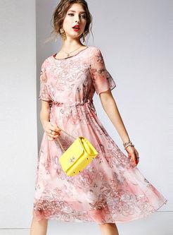 O-neck Short Sleeve Silk Skater Dress