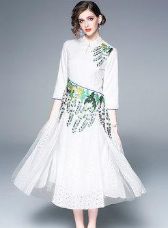 Elegant Embroidered Splicing Improved Cheongsam Dress