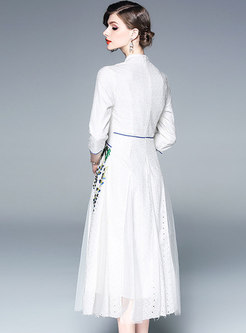Elegant Embroidered Splicing Improved Cheongsam Dress