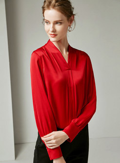 Elegant Retro Solid Color Silk V-neck Blouse