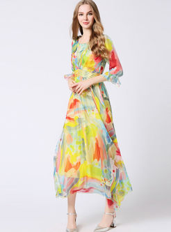 Stylish Flare Sleeve Big Hem Maxi Dress