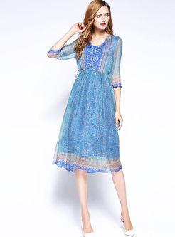 Ethnic V-neck Print Big Hem A Line Dress