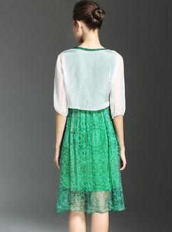 Print O-neck Sleeveless High Waist Skater Dress