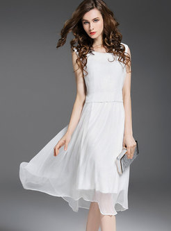Stylish O-neck Sleeveless High Waist Skater Dress