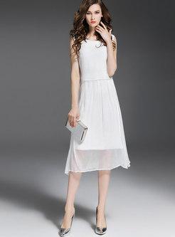 Stylish O-neck Sleeveless High Waist Skater Dress