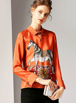 Retro Horse Pattern Slim Casual Blouse