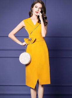 Elegant V-neck Sleeveless High Waist Dress