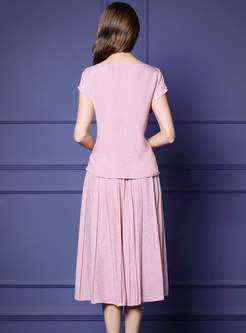 Pink Asymmetric Slim Top & A Line Skirt