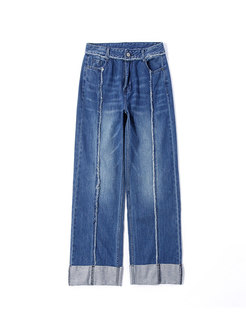 Casual Denim Rough Selvedge Straight Pants