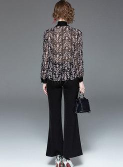 Floral Print Bowknot Chiffon Blouse & Black Wide Leg Pants