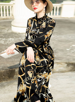 Fashion Print Stand Collar Big Hem Maxi Dress