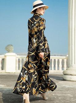 Fashion Print Stand Collar Big Hem Maxi Dress