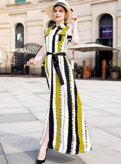 Retro Striped Lapel Half Sleeve Chiffon Maxi Dress