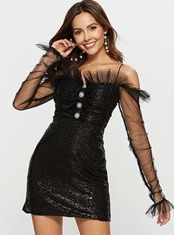 Sexy Slash Neck High Waist Bodycon Dress