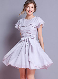 Sweet Solid Color Bowknot Waist Dress