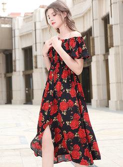 Fashion Print Slash Sleeve Slim Skater Dress
