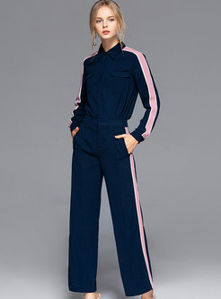 Casual Navy Splicing Striped Blouse & Wide Leg Pants