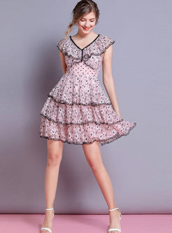Sweet V-neck Lace Falbala A Line Dress