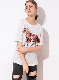 Brief Short Sleeve Animal Print T-shirt
