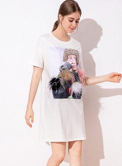 Casual O-neck Pullover Mini T-shirt Dress