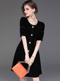 Solid Color O-neck High Waist Skater Dress