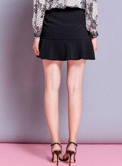 Stylish High Waist Double-breasted Mermaid Skirt