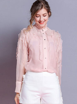 Pink Standing Collar Long Sleeve Blouse
