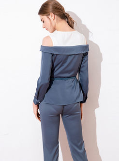 Color-blocked Off Shoulder Top & Slim Pencil Pants