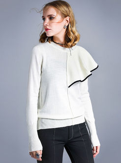 O-neck Long Sleeve Patchwork Sweater