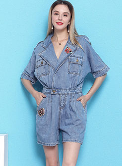 Fashion Turn Down Collar Denim Rompers