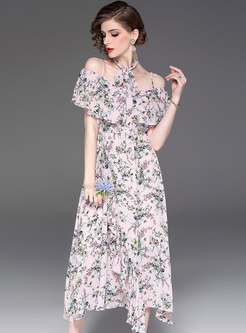 Chic Print Off Shoulder Irregular High Waist Dress